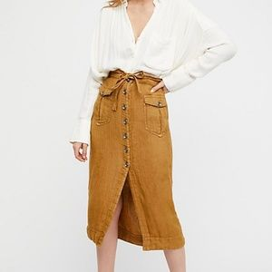 Free People Straight to the Point Midi Skirt